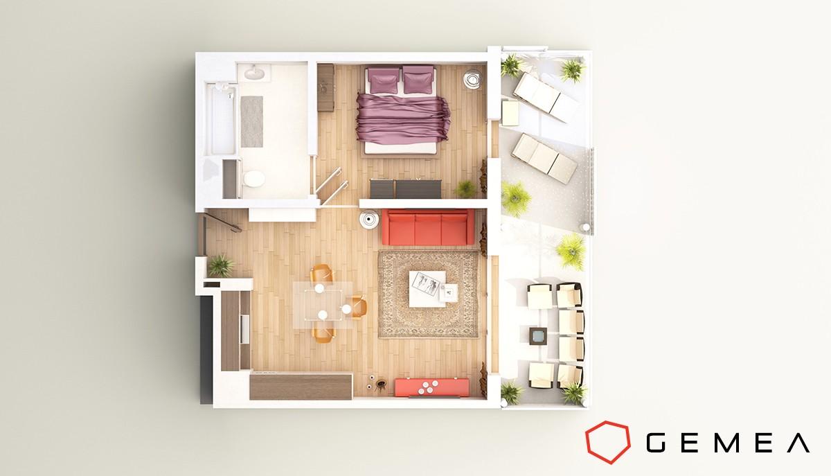 Plan de masse appartement 3d 3
